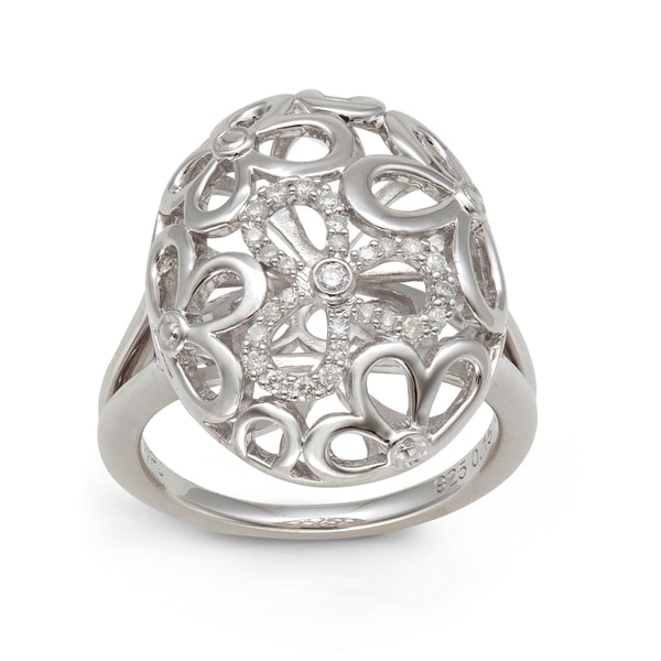 Sterling Silver 1/6ct TDW Diamond Oval Ring (H-I, I2-I3)