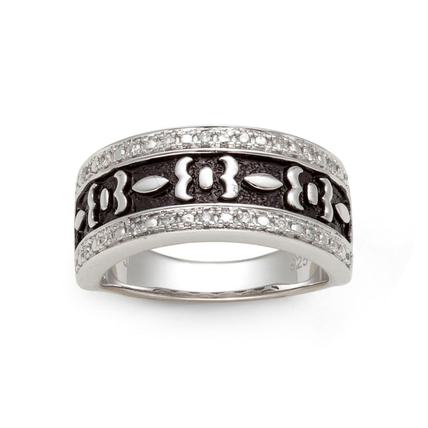 Sterling Silver 1/6ct TDW Diamond and Black Antiqued Ring (H-I, I2-I3)