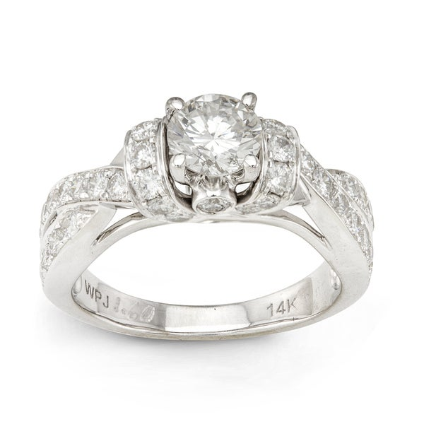 14k White Gold 1 5/8ct TDW Round-cut Diamond Engagement Ring (H-I, I1-I2)