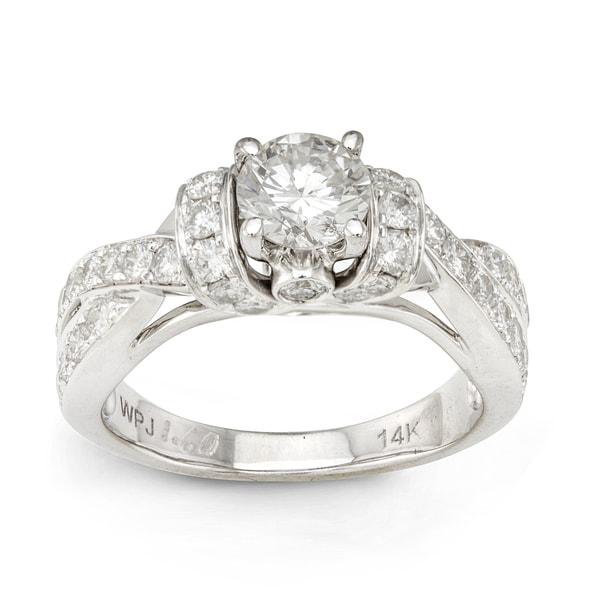 14k White Gold 1 5/8ct TDW Round-cut Diamond Engagement Ring (H-I, I1-I2)