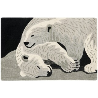 Handmade Safavieh Wildlife Polar Bears Wool Rug (2' x 3')