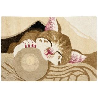 Handmade Safavieh Wildlife Napping Kitten Wool Rug (2' x 3')