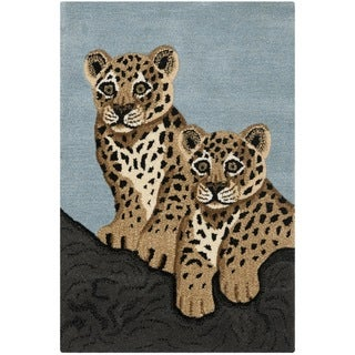 Handmade Safavieh Wildlife Leopard Cubs Wool Rug (2' x 3')