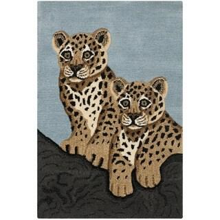 Handmade Safavieh Wildlife Leopard Cubs Wool Rug - 2' X 3'
