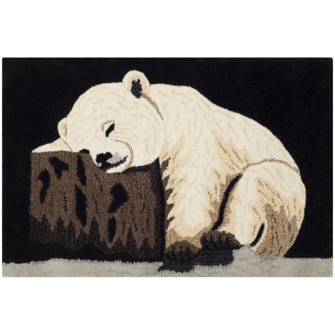 Handmade Safavieh Wildlife Polar Bear Cub Wool Rug - 2' x 3'