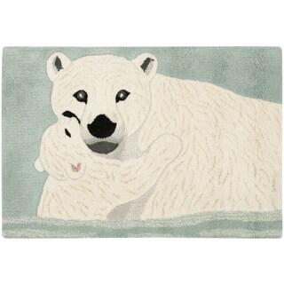 Safavieh Handmade Wildlife Polar Bear and Cub Wool Rug - 2' x 3'