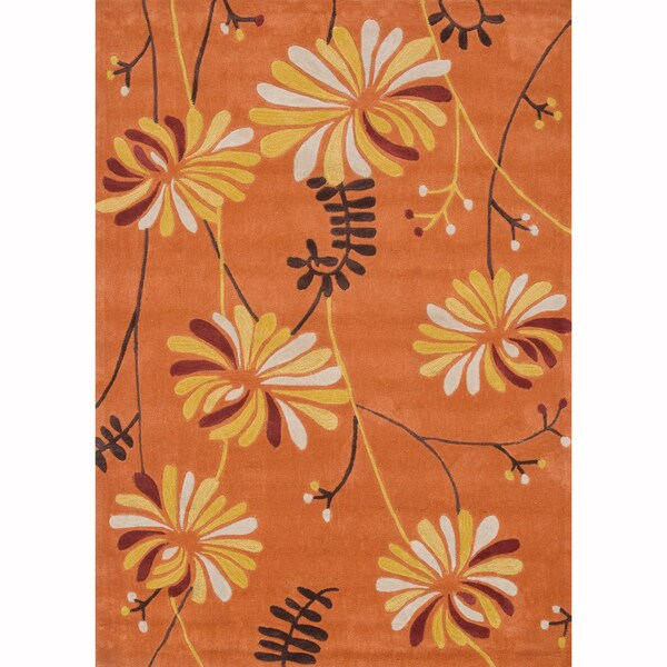Hand-tufted Chalice Orange Rug (2' x 3'9)