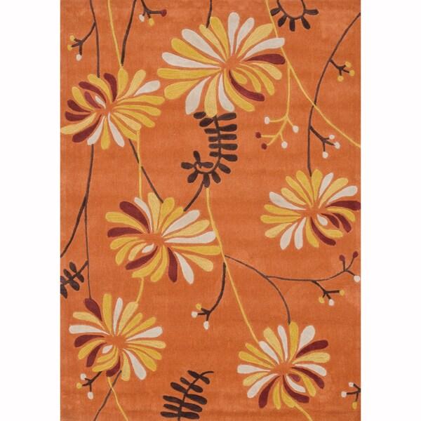 Hand-tufted Chalice Orange Rug (5' x 7')
