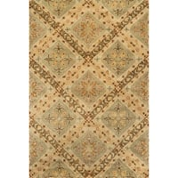 Hand-tufted Sage/ Beige Floral Wool Area Rug - 5' x 7'6