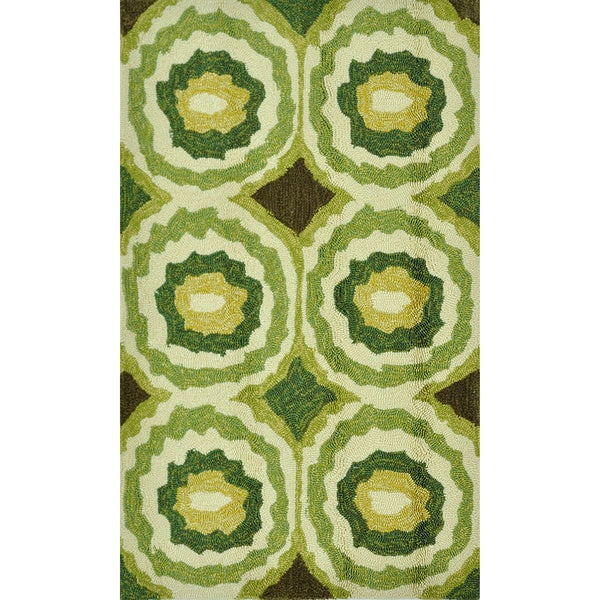 Indoor/ Outdoor Hand-hooked Portia Lime Rug (2'3 x 3'9)