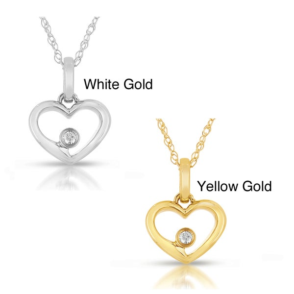 14k White or Yellow Gold Diamond Heart Necklace (GH, I1-I2)