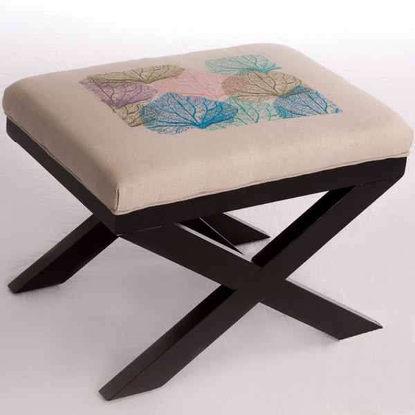 Xavier Multi-colored Embroidered Leaves Ottoman by Christopher Knight Home