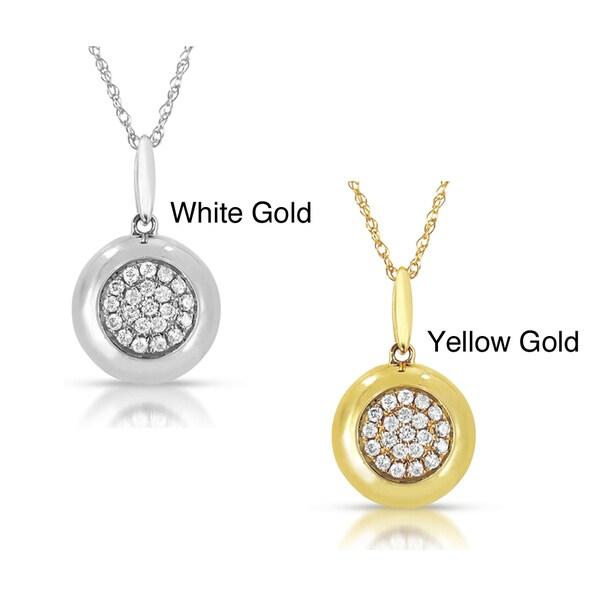 14k Gold 1/5ct TDW Diamond Circle Pendant (GH, I1-I2)