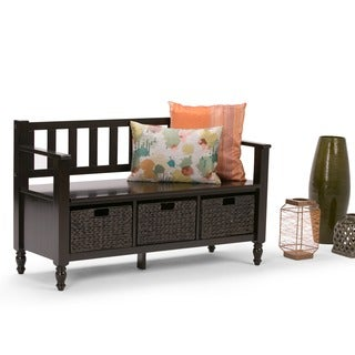 WYNDENHALL Bradwick Dark Exeter Brown Entryway Storage Bench