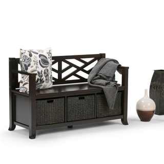 WYNDENHALL Nolan Espresso Brown Entryway Bench with Basket Storage