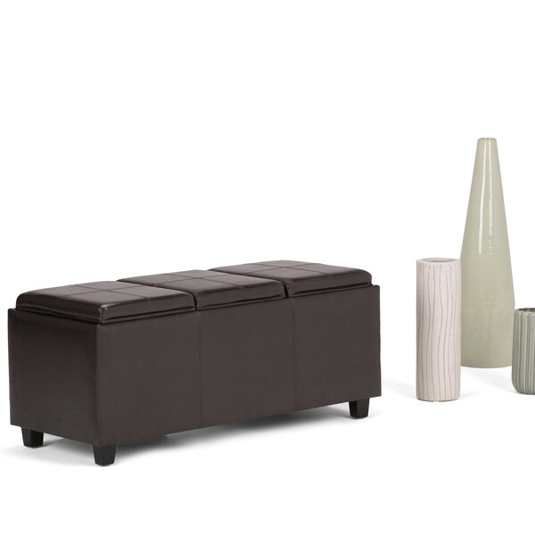 Ottomans Brussels Brown Bonded Leather Storage Chest: WYNDENHALL Franklin Storage Ottoman With 3 Serving Trays