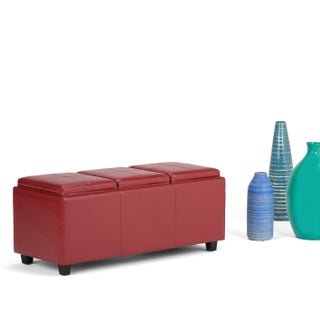 WYNDENHALL Franklin Storage Ottoman with 3 Serving Trays (Option: Red - Faux Leather)
