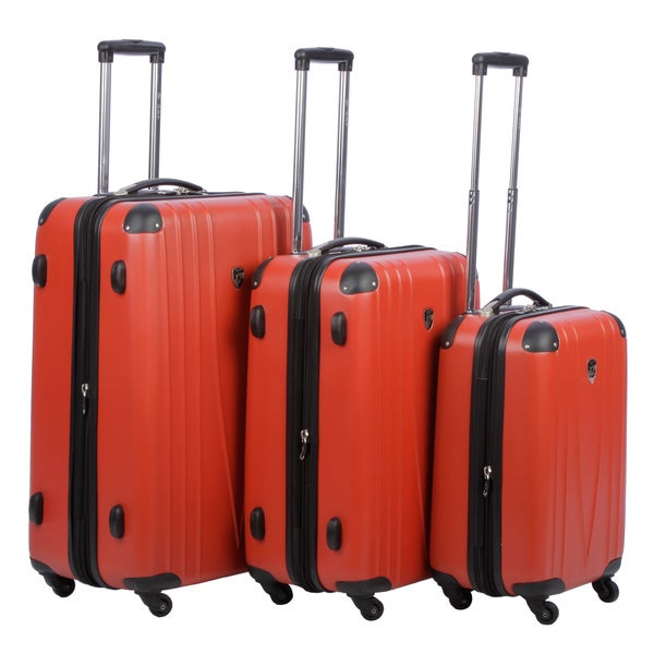 Heys USA 4WD Red Three-piece Hardside Spinner Luggage Set
