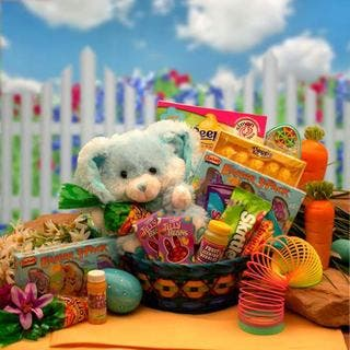 Easter gourmet food baskets for less overstock bunny hugs blue easter gift basket negle Choice Image