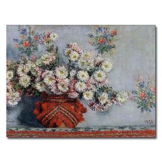 Claude Monet, 'Chrysanthemums, 1878' Canvas Art - Multi