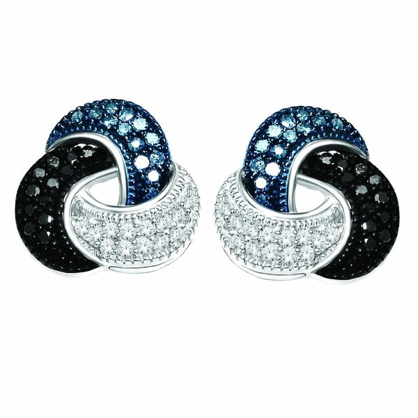 De Couer Silver 1/5ct TDW Blue, Black & White Diamond Love Knot Earring (H-I, I2)