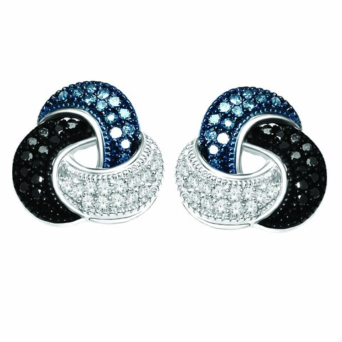 De Couer Silver 1/5ct TDW Blue, Black & White Diamond Love Knot Earring