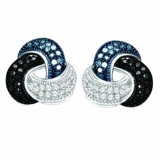 De Couer Silver 1/5ct TDW Blue, Black & White Diamond Love Knot Earring