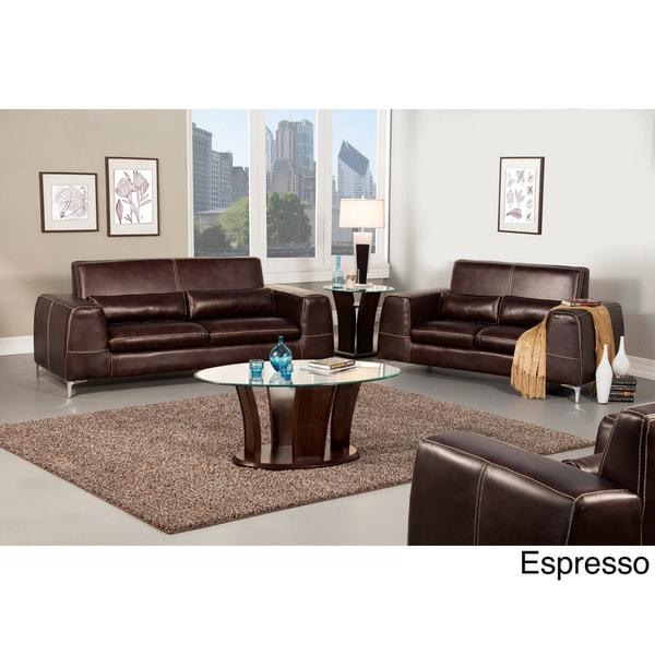Furniture of America Jermy 2-Piece Contemporary Leatherette Sofa/ Loveseat Set