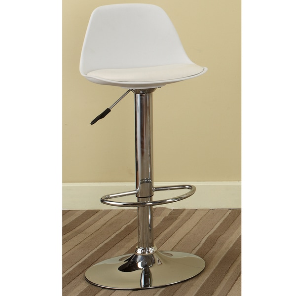 K Amp B White Vinyl Chrome Finish 42 Inch Adjustable Bar Stool
