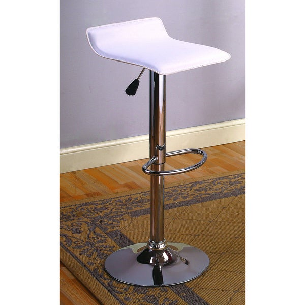 K&B White Vinyl Chrome Finish Bar Stools (Set of 2)