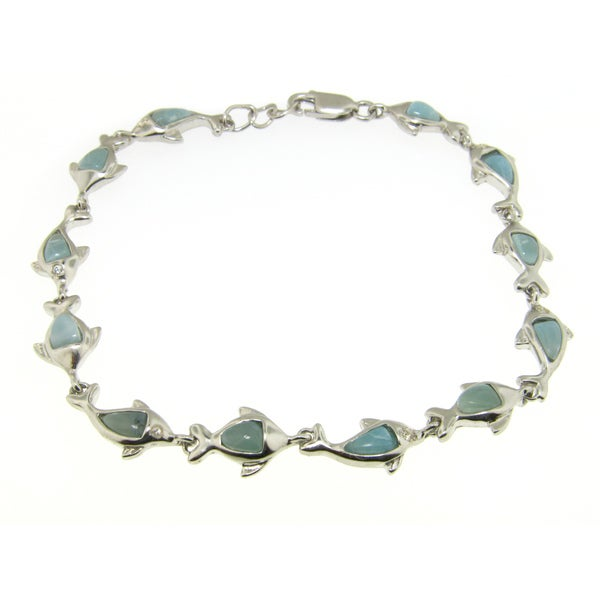 Sterling Silver CZ and Larimar Dolphin and Fish Bracelet