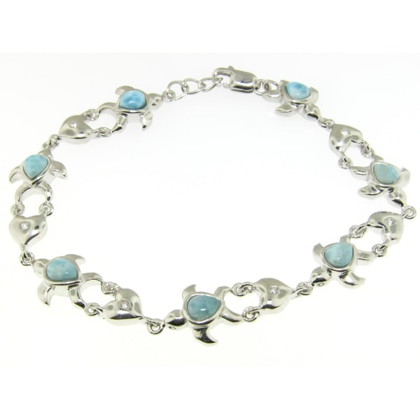 Sterling Silver Cubic Zirconia and Larimar Bracelet