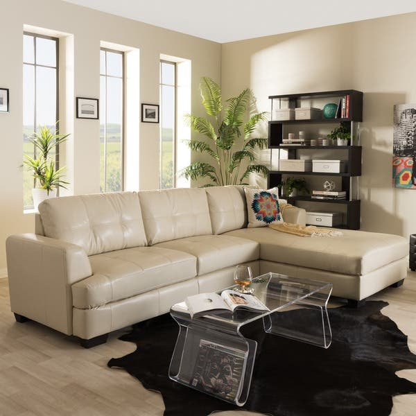 Terrific Baxton Studio Dobson Modern Cream Bonded Leather Tufted Sectional Sofa Gmtry Best Dining Table And Chair Ideas Images Gmtryco