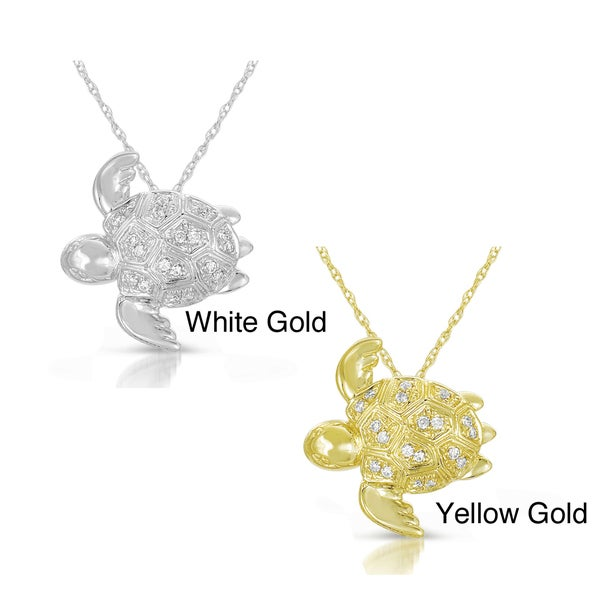 10k Gold 1/10ct TDW Diamond Turtle Pendant (GH, I2-I3)