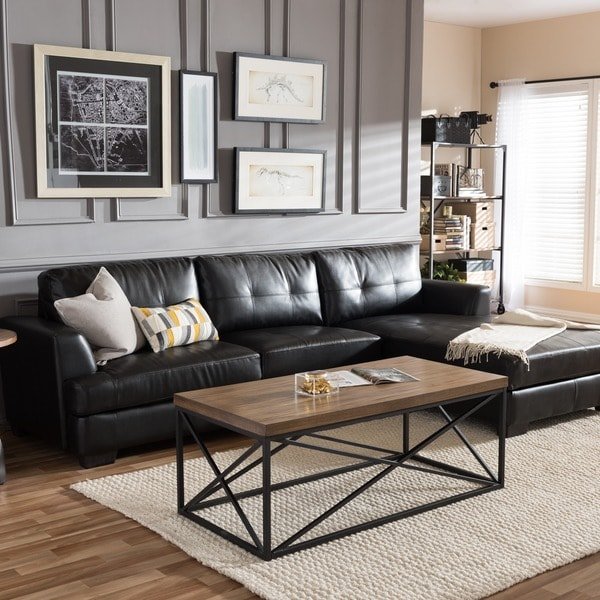 Dobson black leather modern sectional sofa free shipping for Family room with sectional sofa