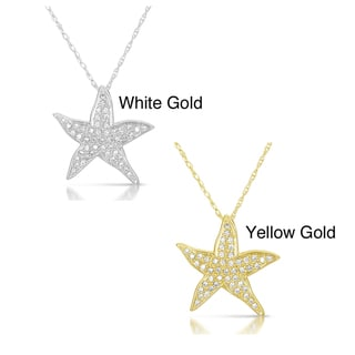 Eloquence 10k Gold Diamond Aquatic Life Starfish Pendant (GH, I2-I3)