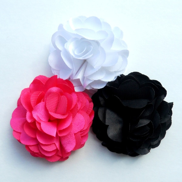 Boutique Satin Mesh Flower Clips (Set of 3)