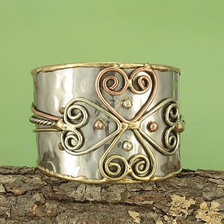 Handmade Hammered Brass/ Copper Cross Cuff Bracelet (India)