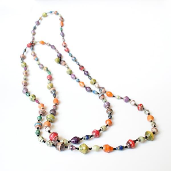 Long Multicolor Paper Bead Necklace (Uganda)