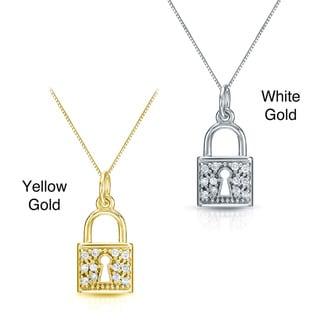 Auriya 14k Gold 1/6ct TDW Diamond Lock Necklace
