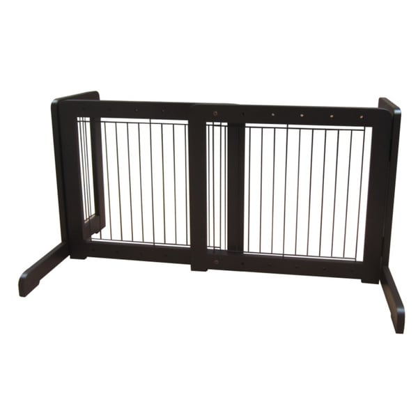 Dark Walnut Free-standing 23.6-39.4-inch Pet Gate