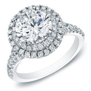 Auriya 14k White Gold 1 5/8ct TDW Double Halo Diamond Engagement Ring