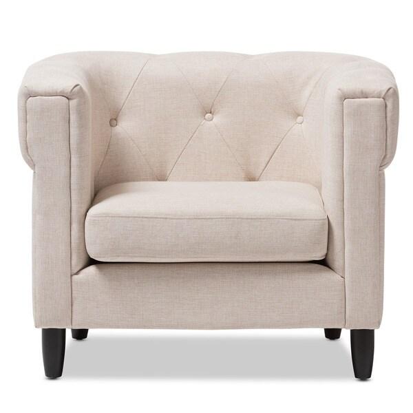 Baxton Studio Cortland Beige Linen Modern Chair
