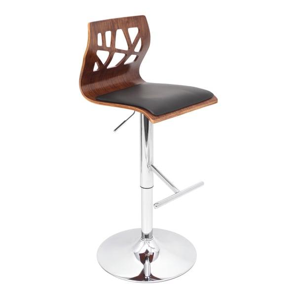Folia Mid-century Modern Walnut Wood Adjustable Barstool