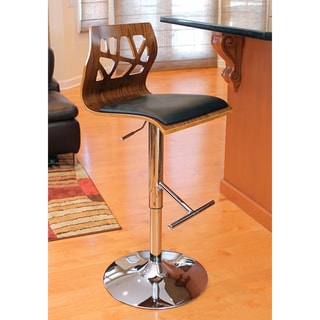 Folia Mid-century Modern Walnut Wood Adjustable Barstool