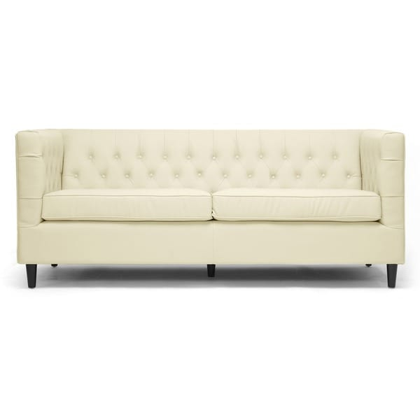 Baxton Studio Darrow Cream Modern Leather Sofa Reviews Deals Amp Prices 14794423
