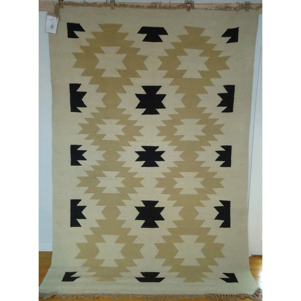 Flatweave Ghost Dance Cream, Black & Khaki Egyptian Wool Area Rug (6' x 9') (Egypt)