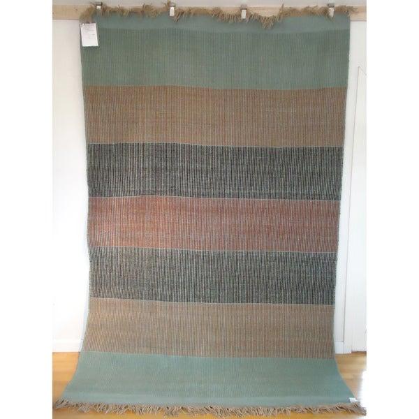 Flatweave Banded Dhama Turquoise, Rust and Black Egyptian Wool (6' x 9') (Egypt)