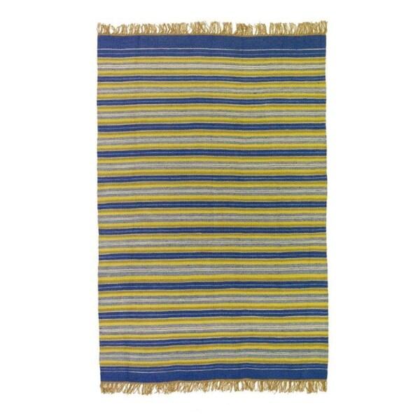 Flatweave Stripes Blue, Yellow, White and Green 100-percent Egyptian Wool Rug (6' x 9') (Egypt)
