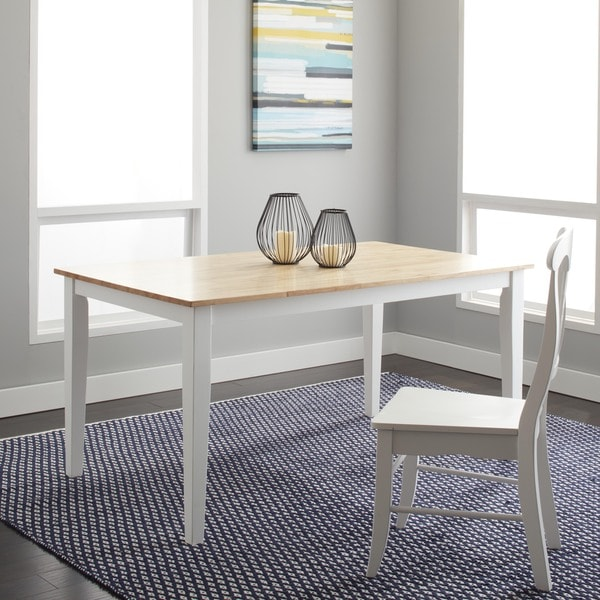 Simple Living Large Shaker Dining Table in White and Natural ...